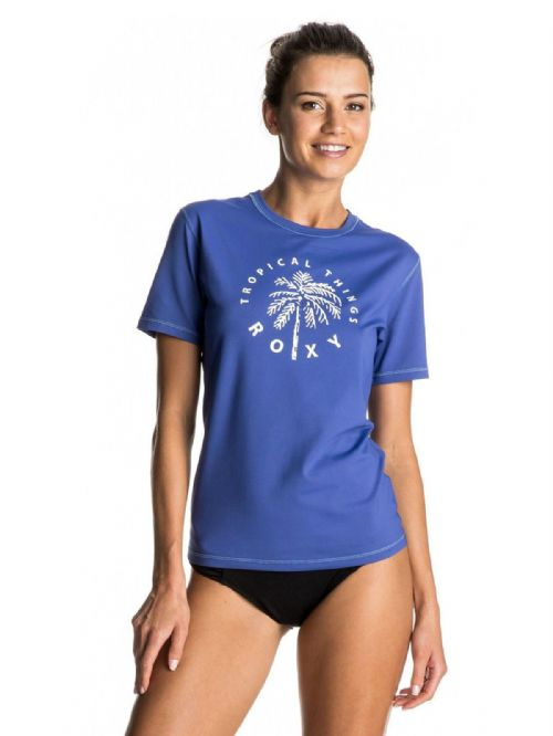 ROXY WOMENS RASH VEST.NEW PALMS AWAY BLUE SUN PROTECTION T SHIRT TOP 7S 132 PQF0